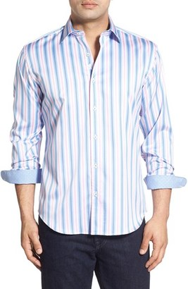 Bugatchi Shaped Fit Stripe Sport Shirt (Tall) $149 thestylecure.com