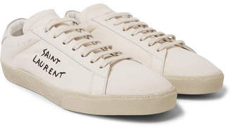 Saint Laurent SL/06 Leather-Trimmed Logo-Embroidered Distressed Canvas Sneakers - Cream