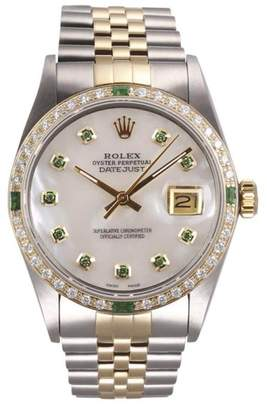 Rolex Datejust II 18K Yellow Gold and Stainless Steel White Mother of Pearl Green Diamond Dial and Emerald Diamond Bezel 36mm Watch