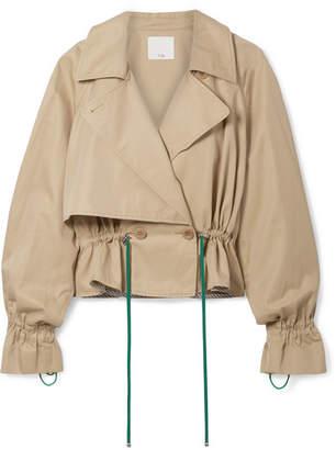 Tibi Finn Cropped Cotton-twill Jacket - Tan