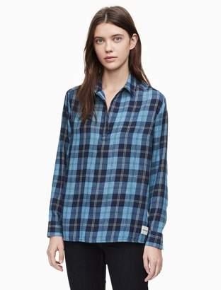 Calvin Klein linear plaid logo long sleeve popover top
