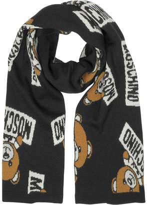 Moschino All Over Teddy Bear Woven Wool Scarf