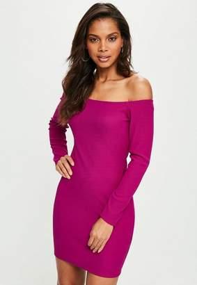 Missguided Purple Long Sleeve Bardot Bodycon Dress