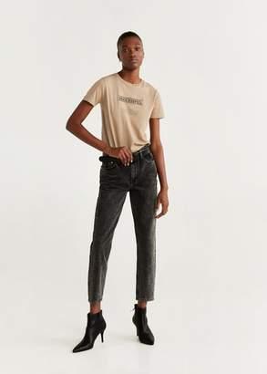 MANGO Embroidered message t-shirt beige - XXS - Women