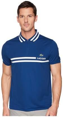 Lacoste Short Sleeve Pique Ultra Dry Fine Stripe w/ Jacquard Collar Zip Front Placket Men's Short Sleeve Pullover