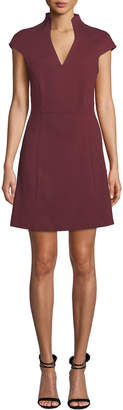 Alexia Admor Military-Neck Short-Sleeve Fit & Flare Dress