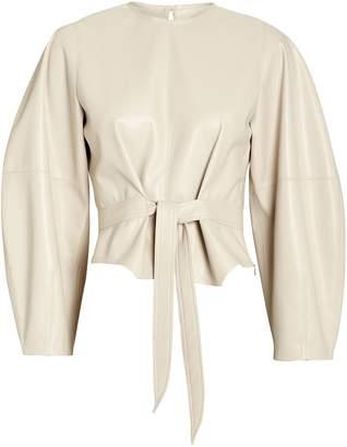 Nanushka Corsa Vegan Leather Tie Top