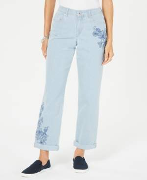 Style&Co. Style & Co Striped Embroidered Curvy-Fit Boyfriend Jeans, Created for Macy's