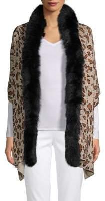 Adrienne Landau Dyed Fox Fur Trim Star-Print Stole