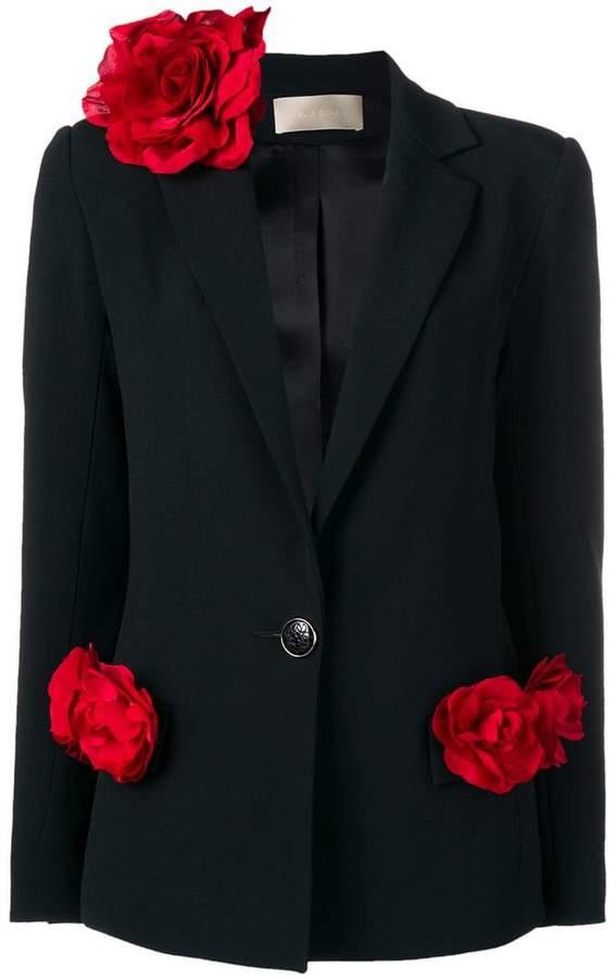 rose appliqué blazer