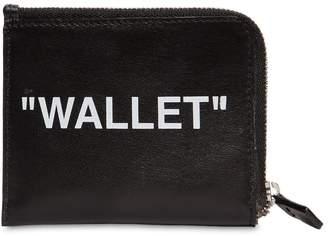 Off-White Zip Around Leather Wallet W/ Chain
