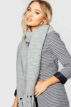boohoo Oversized Knitted Tassel End Scarf