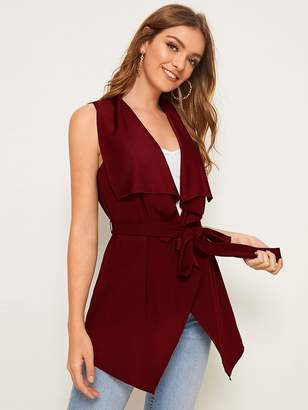 Shein Waterfall Collar Belted Vest