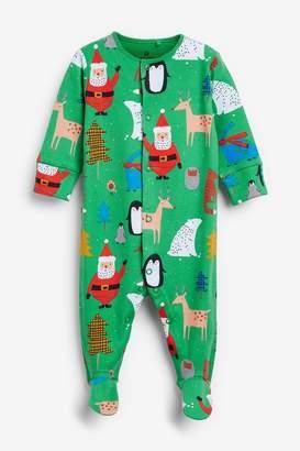 Next Green Christmas Print Sleepsuit (0mths-2yrs) - Green