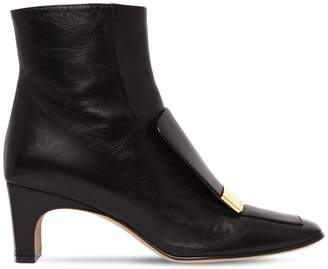 Sergio Rossi 60mm Metal Plaque Leather Ankle Boots