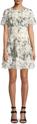 Alice + Olivia Paola Embroidered Ruffle Mini Dress