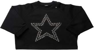 Diesel Eyelet Star Cropped Cotton Sweatshirt