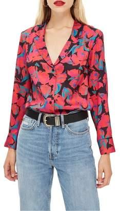 Topshop Floral Pajama Style Shirt