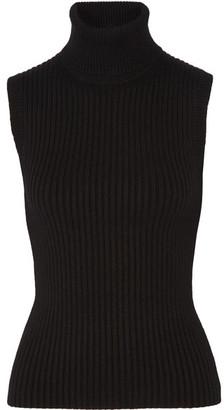 Michael Kors Collection - Ribbed Stretch Cashmere-blend Turtleneck Top - Black $795 thestylecure.com