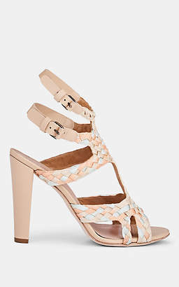 Alberta Ferretti Women's Braided Ribbon T-Strap Sandals - Beige, Tan