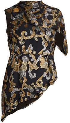 Peter Pilotto Asymmetric Open Back Fil Coupe Silk Blend Top - Womens - Black Gold