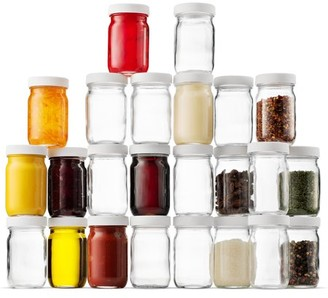 Shopokus High Quality Small Glass Mason Jars 4 Ounce Mini Jars 24-Pack , Plastic Airtight Lid, For Jam, Jelly, Dressings, baby food, Crafts, Spices, Dry Food Storage, Wedding favors, Decorating Jar