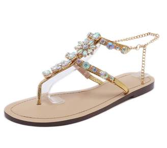 1ee6ad4c1a6a at Amazon Canada · Rumbidzo Women Sandals Flat Heels Rhinestones Chain Thong  Gladiator Sandals Bohemian Beaded Shoes Size 5-