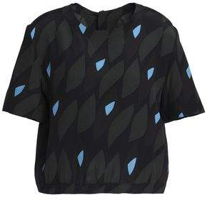 Marni Printed Silk Crepe De Chine Top