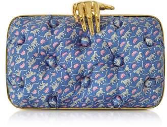 96f136d990df Benedetta Bruzziches Leopards Printed Blue Satin Silk Carmen Clutch W/  Golden Hand