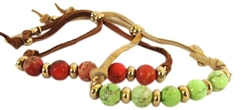 Ettika - Women's Leather Marble Bead Bracelet **2 Colors**