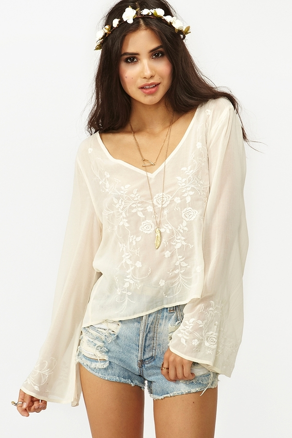 Nasty Gal Rose Embroidered Top