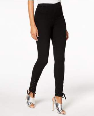 Macy's The Edit By Seventeen Juniors' Cotton Lace-Up Skinny Pants, Created for