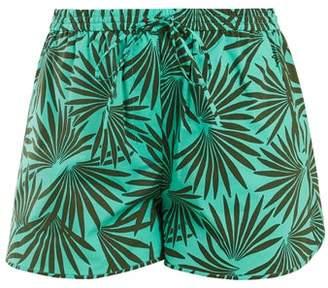Diane Von Furstenberg - Elasticated Waist Stretch Cotton Shorts - Womens - Green Multi