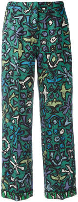 Valentino abstract print flared trousers