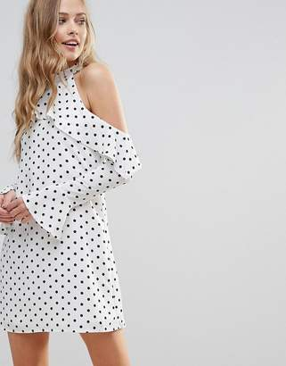 Oh My Love Halterneck Frill Long Sleeve Shift Dress In Polka Dot