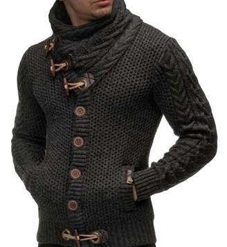 TaoNice-men clothes TaoNice Men Turtleneck Long Sleeve Button Knitted Pocket Sweater Outwear 2XL