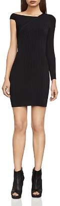 BCBGMAXAZRIA Karli Asymmetric Rib-Knit Dress