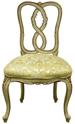 One Kings Lane Vintage French Brocade Vanity Chair - Rare and Worthy