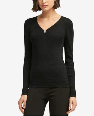 DKNY Embellished V-Neck Sweater