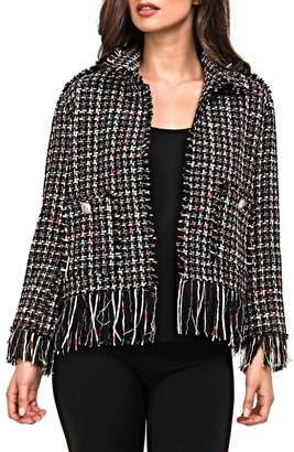 Adore Plaid Fringe Jacket