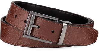 Robert Graham Men's Horton Embossed Paisley Leather Belt