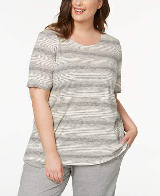 Eileen Fisher Plus Size Recycled Cotton Blend Striped T-Shirt