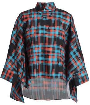 DELPOZO Cape-Effect Floral-Appliquéd Checked Cotton-Poplin Shirt