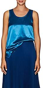 Helmut Lang Women's Cover-Stitched Satin Tank - Blue