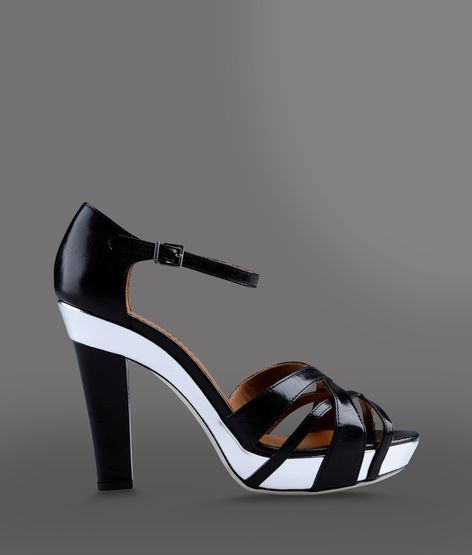 Emporio Armani Two-Color Leather Sandal With Platform