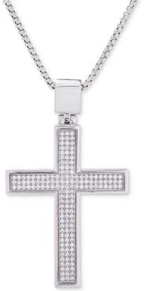 """Macy's Men's Diamond Cross Pendant 22"""" Necklace (1/2 ct. t.w.) in Sterling Silver"""