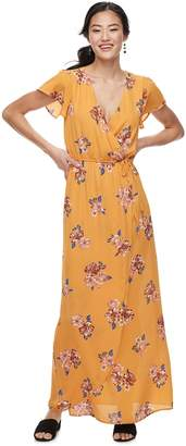 Trixxi Juniors' Flutter Sleeve Floral Maxi Dress