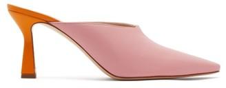 Wandler Lotte Contrast Heel Leather Mules - Womens - Light Pink
