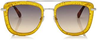 Jimmy Choo GLOSSY Yellow Square Metal Sunglasses with Glittery Plexiglass Frame