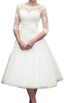Fannybrides 3/4 Long Sleeves Lace Short Tea Length Wedding Dress Gown